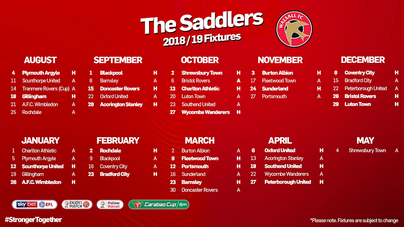 2018 19 fixtures released news walsall fc